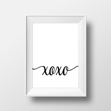 Black and White Home decor Love printable printable Wall artwork xoxo poster Hugs and kisses print Instant download Minimalistic print