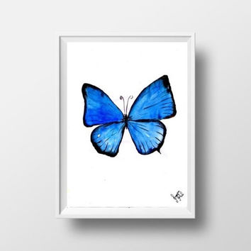 Blue butterfly watercolor painting wall art print poster decor insect living room decal print art poster large & small aqua blue butterfly