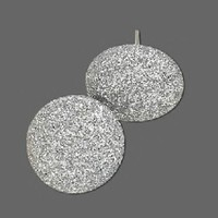 Silver Retro Mod 80s Sparkly Disco Fabric Button Earrings