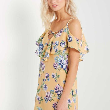 Selena Floral Prints Ruffle Shift Dress