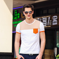Summer Cotton Korean Slim Print Short Sleeve Stylish Round-neck T-shirts [6541343811]