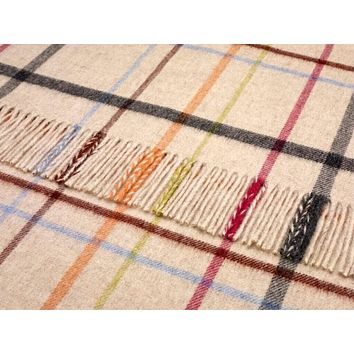 Rainbow Merino Lambswool VAR. Windowpane Beige Multi Throw Blanket