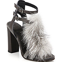 Brunello Cucinelli - Fox Fur & Chain-Trimmed Leather T-Strap Sandals - Saks Fifth Avenue Mobile