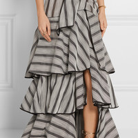 Johanna Ortiz - Gabo ruffled striped organza maxi skirt