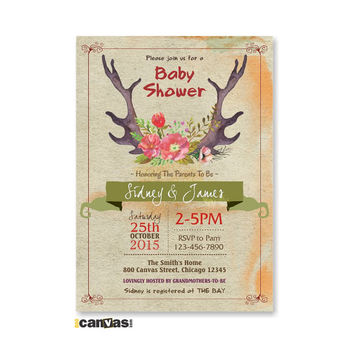 Deer Floral Antlers Baby Shower Invitation, Deer Rustic Woodland, Antlers and Flowers Printable Party Invitation, Watercolor Roses, Girl 125