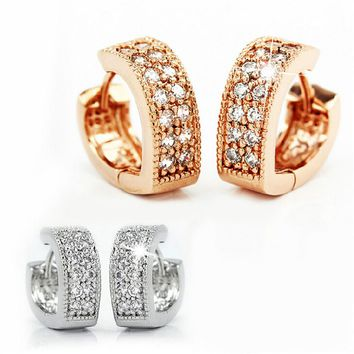 New Fashion Crystal Stud Earrings +Gift Box