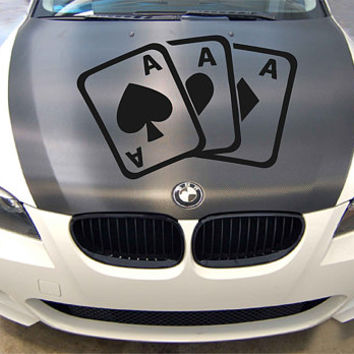 playing cards car hood decal three aces Car Decals playing cards Car Truck Side Body Graphics Decal for car ikcar92
