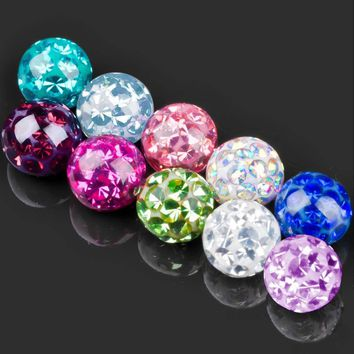 Showlove 2Pcs 3mm&4mm 16g Crystal Ferido Epoxy CZ Stone Ball Piercing Accessories for Labret Nose Tragus Cartalige Lip Ring