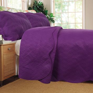 DaDa Bedding Midnight Vineyard Purple Thin & Lightweight Quilted Bedspread Set (LH188)