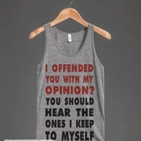 I Offended You (Tank)-Unisex Athletic Grey Tank