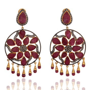 Handmade Designer Rough Cut Ruby Pave Diamond Chandelier Bridal Earring Jewelry