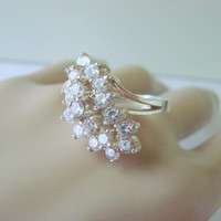 Cluster Cubic Zirconia Ring / Gold Plate / Hallmarked / Size 6 3/4 / Cocktail Ring / Vintage Jewelry