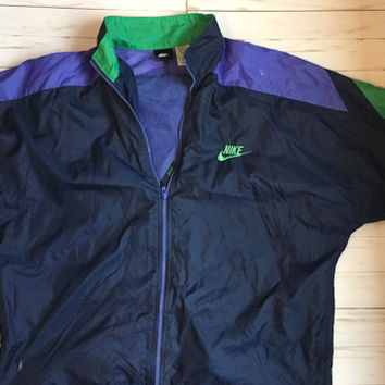 Vintage Nike Windbreaker // Adult Medium // Navy, Green, Purple
