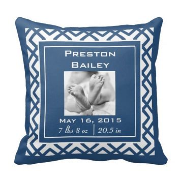 Personalize Nursery Baby Announcement, Navy Blue Pillows