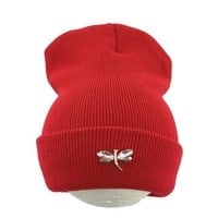Ralferty Dragonfly Crystal Beanie Hat For Women Hip Hop Cute Winter Hats Caps Female Skullies bonnet femme gorros Sport gorras