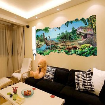 90*50cm newest 4 designs impression 3d cartoon movie Dinosaur home decal wall sticker boys love kids room decor child gifts