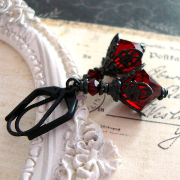 Romantic Red Gothic Earrings - Blood Red Victorian Earrings - Swarovski Gothic Filigree Earrings - Black and Red Gothic Jewelry