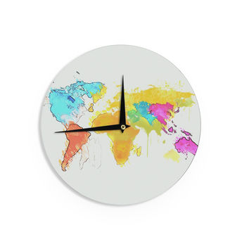 "Oriana Cordero ""World Map"" Rainbow White Wall Clock"