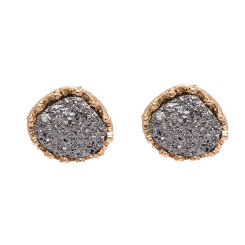 Moon Rock Earrings in Silver