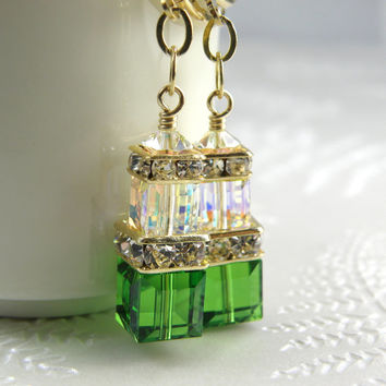 Light Emerald Crystal Earrings, Green Swarovski Cube, Gold Filled, Bridesmaid, Spring Wedding Handmade Jewelry, May Birthday, Birthstone