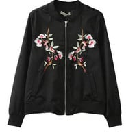 Black Floral Pattern Baseball Jacket