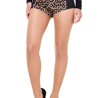 Leopard Print Hot Pants with Faux Leather Side Panels