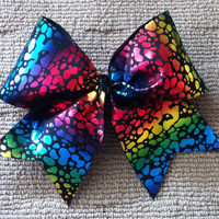 Cheer Bow Metallic Rainbow Large