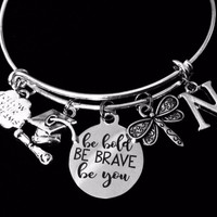 Personalized Class Jewelry Graduation Charm Bracelet Be Bold Be Brave Be You Expandable Bangle Diploma Graduation Cap Adjustable Bangle Gift Follow Your Dreams Dragonfly Initial Bracelet