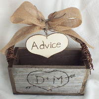Rustic Wedding Advice Card Box And Burlap Wedding Decor