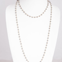 Smoky Gray Faceted Glass Beaded Long Necklace