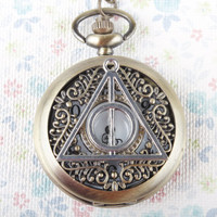 Harry Potter Deathly Hallows pocket watch necklace with flower  branch