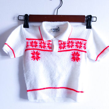 Vintage Huntingdon Mills 3T children's holiday sweater, vintage children's clothing poinsettia sweater, toddler holiday sweater