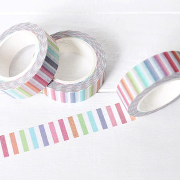 Rainbow Stripe Washi Tape. 15mm x 10m. Striped Washi Tape. Summer Washi Tape. Planner Supplies.