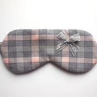 Plaid Sleep Mask NEW Eye Shade Gray Peach Pink Blindfold Lace Bow Wool Cover Nap