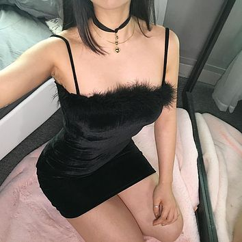 Winter Sexy Velvet One Piece Dress [138758914063]
