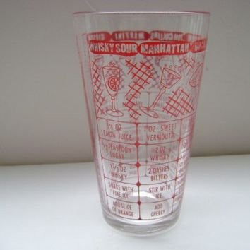Etsy Transaction -          Federal Mixing Glass For Your Bar With Recipes
