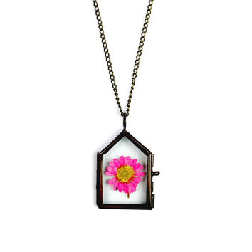 Pressed Flower Glass Frame Necklace in Bronze - Geometric Jewellery, Vegan, Floral, Locket, Minimalist, House, Pink, Fauna, Gift for Her