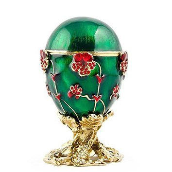 Pansy Russian Faberge Egg Flowers Crystal Imperial Box Gift Decorative House