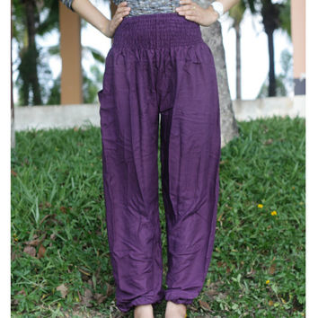 Purple color Aladdin Pants fisherman pants/Yoga pants/Harem pants/Meditation pant/elephant thai pants/boho pants/gypsy pants/palazzo pants