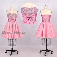 Pink Sweetheart Beading Bow Ruffles Short Homecoming Dress/Sexy A Line Mini Homecoming Dress/Party Dress/Prom Dress DH177