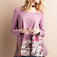 """Laney"" Floral Trim Top , Mauve"