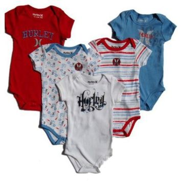 Hurley 5-piece Set ~ Red, White, Blue Onesie / Romper ~ 0-3 Months