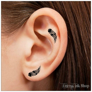 Temporary Tattoo 16 Feather Ear Tattoos Finger Tattoos