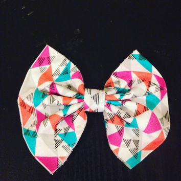 Multi-Color Hair Bow-Hair Clip-Hair Barrette-Asymmetrical Hair Bow-Handmade Hair Bow--Back to School Hair Bow-Cotton Hair Bow