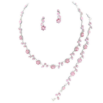 Affordable Lite Pink Crystal BRIDESMAID 3 Bridal Necklace Earring, Bracelet Set H5