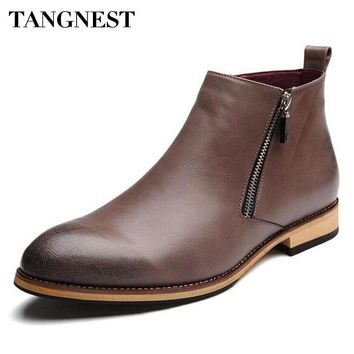 Tangnest Men's Pointed-Toe Genuine Leather Zippered Ankle Boots