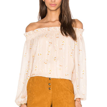 WAYF Off Shoulder Blouse in Pink Bouquet Print