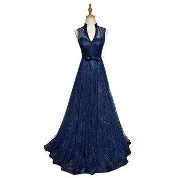 Evening Gowns for Women Navy Blue V-neck with Pearl Lace Prom Dresses Long Dresses for Wedding Party