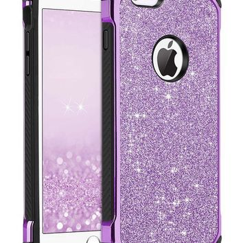 DCCKRQ5 iPhone 6 Case, iPhone 6S Case, BENTOBEN Glitter Luxury 2 in 1 Ultra Slim Hard Laminated with Sparkly Shiny Faux Leather Chrome Shockproof Protective Case for iPhone 6/iPhone 6S (4.7 inch), Purple