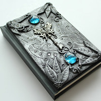 Gothic sketchbook - Secret key - journal - polymer clay